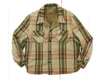 Fleece Lined CPO Jacket in Green Plaid