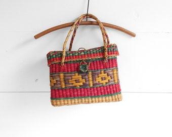Multi-Color Straw Basket Purse