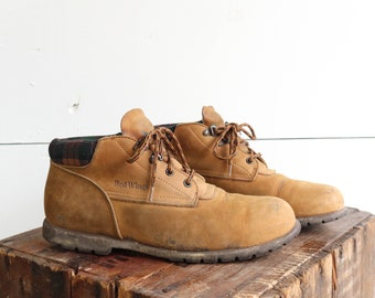 Red Wings Hiker Boots with Plaid Flanne Cuffs