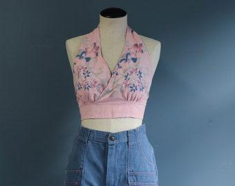 All Cotton Pink & Blue Floral Halter Top