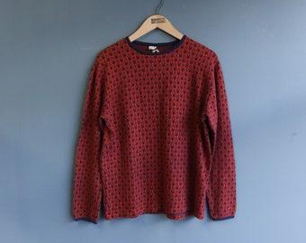 Jantzen Fire & Rain Star Print Knit Long Sleeve Shirt