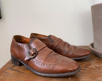 Vintage Cap Toe Brogue Oxfords Brown Dress Shoes by Edwin Clapp