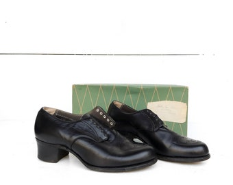 8fd59624082 1940 s 1950 s Barefoot Freedom Black Heeled Oxford Style Shoes size 5.5 E