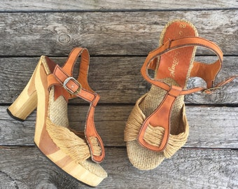 Women's Wooden Platform Sandals with Leather & Hemp Straps