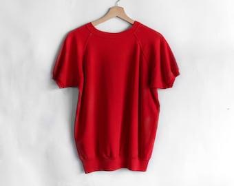 Red Short Sleeve Raglan Blank Sweatshirt