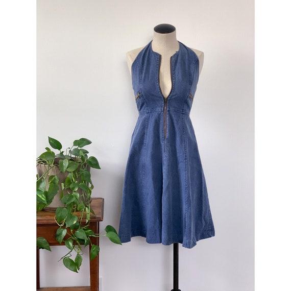1970's Denim Halter Dress
