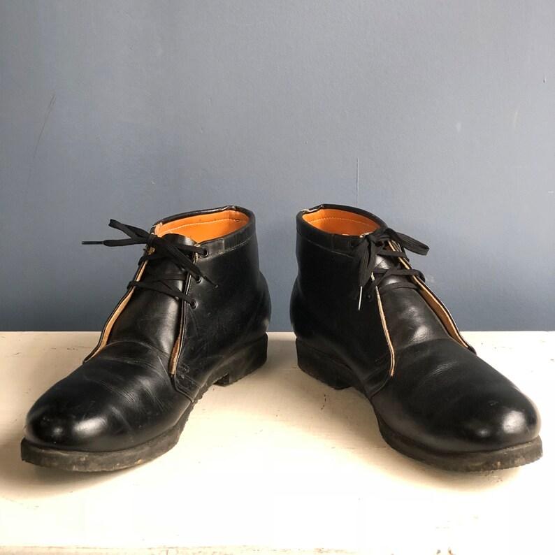 1960/'s Vintage Penn Garment Co Postal Shoes Black Leather Chukka Work Boots