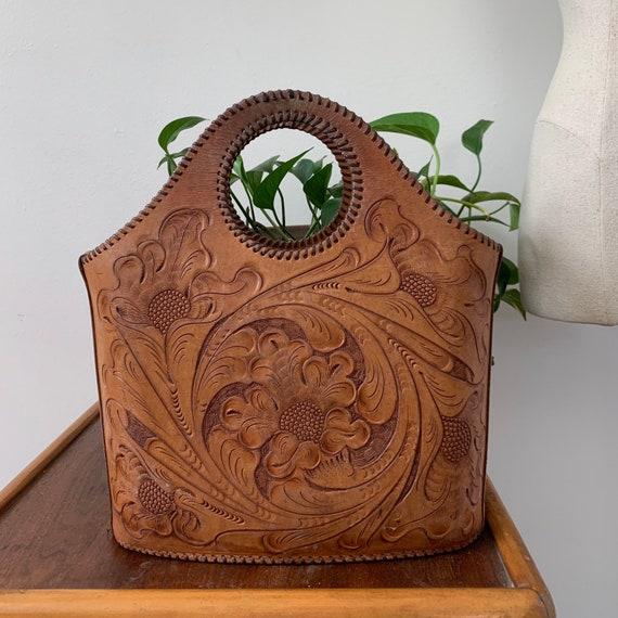 1950s Tooled Leather Tote Bag Distressed Leather T