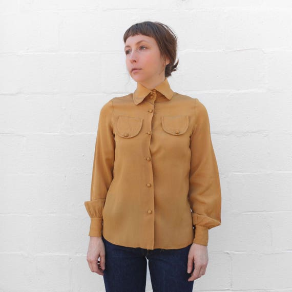 1960's Mustard Yellow Long Sleeve Button Down Blou