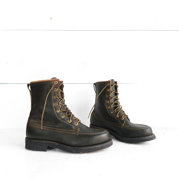 1950's Herman Shoes and Boots Green Moc Toe Work B