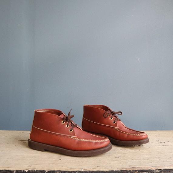 Vintage Chukka Moccasin Boot   Vintage Brown Leath