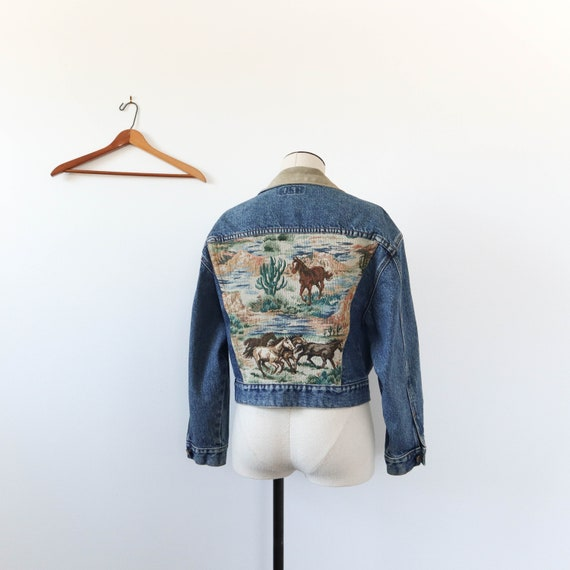 Guess Jeans Denim Jacket with Horse Tapestry
