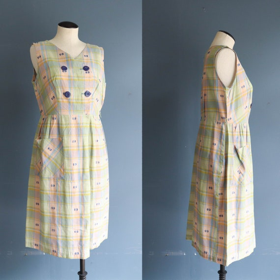 1950's Pink, Green, Blue Sleeveless Plaid Day Dres