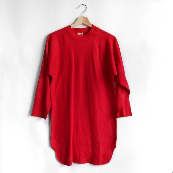Hanes Sport 1960's Red Mock Neck Knit Shirt
