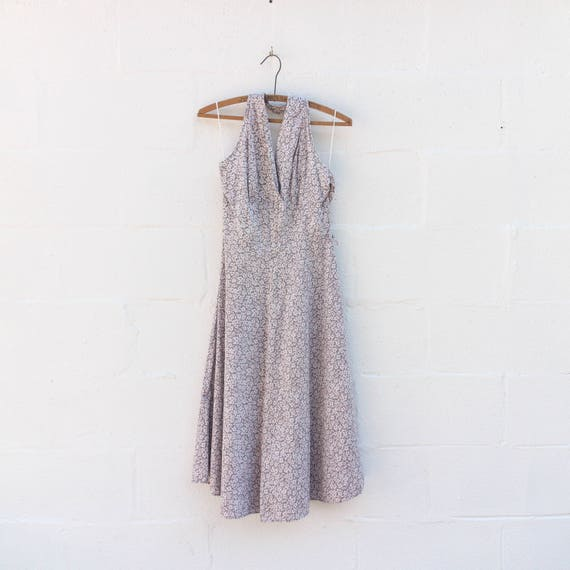 1950's Women's Gray & Pink Floral Halter Top Dress