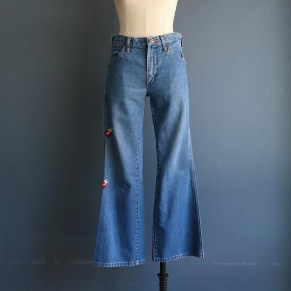 1970's Wrangler Patched Bell Bottom Denim Jeans