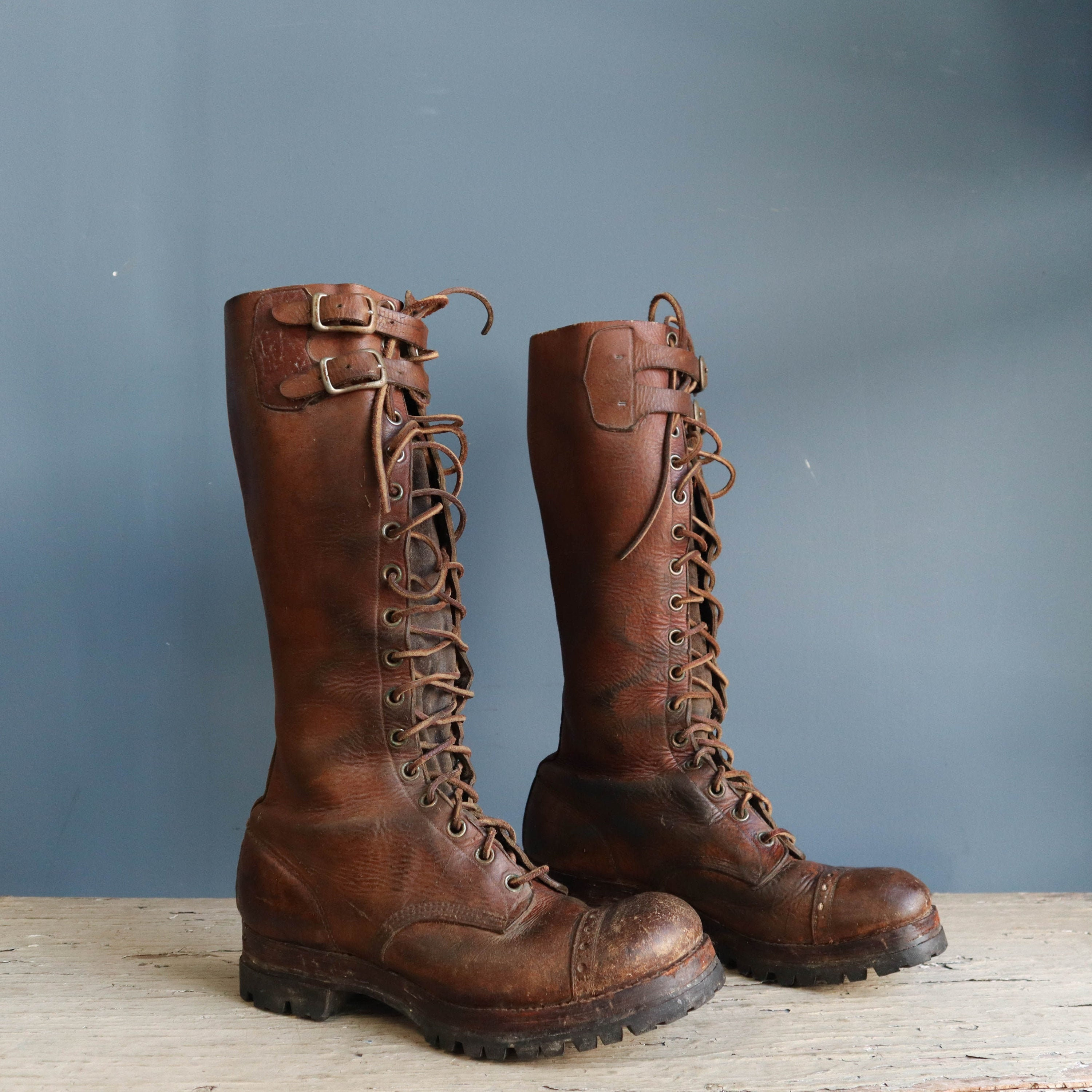Vintage Tall Leather Lace-Up Boots