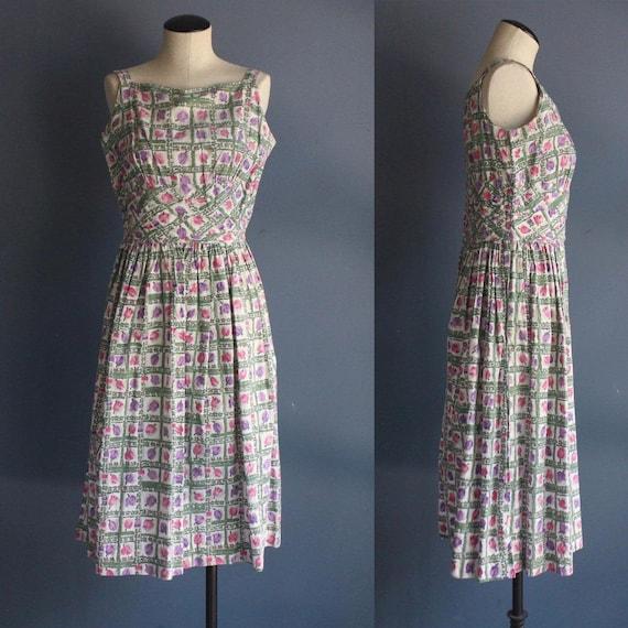 1950's Party Dress Pink & Purple Tulip Print Sleev