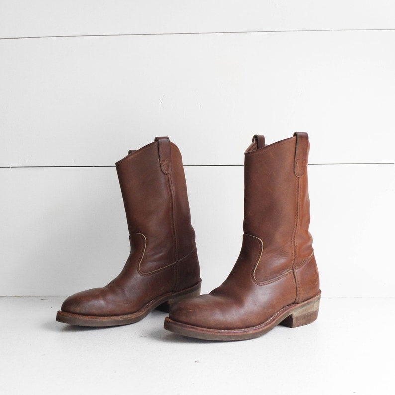 149b7af966cbf Vintage Steel Toe Work Boots by Iron Age Pull On Ranch Pecos Boots
