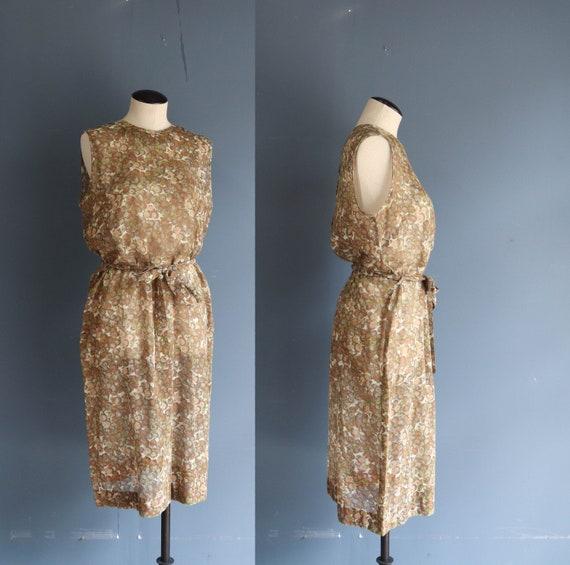 1950's Sleeveless Fruit Print Sheer Dress