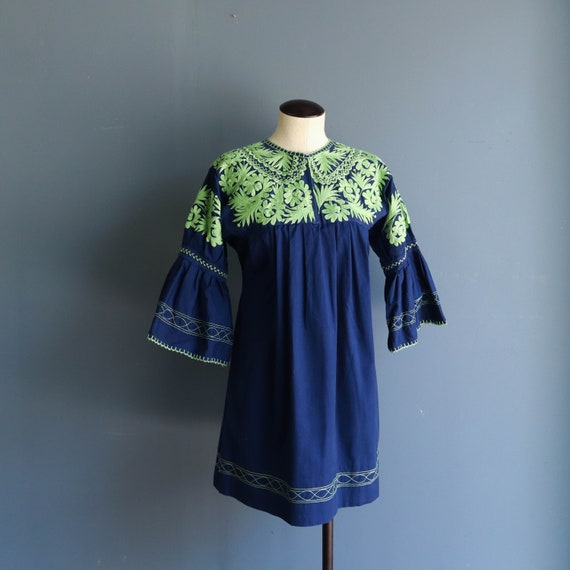 1960s Embroidered Mini Dress | Vintage 60s Mexican