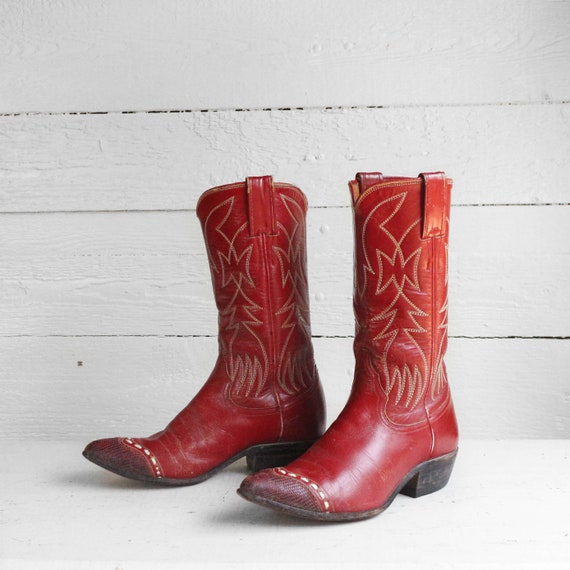 Vintage Red Cowboy Boots size 5 Narrow