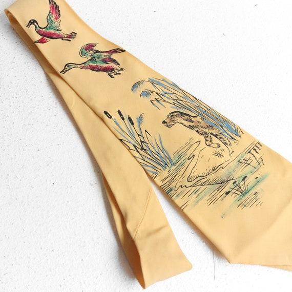 Vintage 1950's Pilgrim Rayon Cravats Painted Tie H
