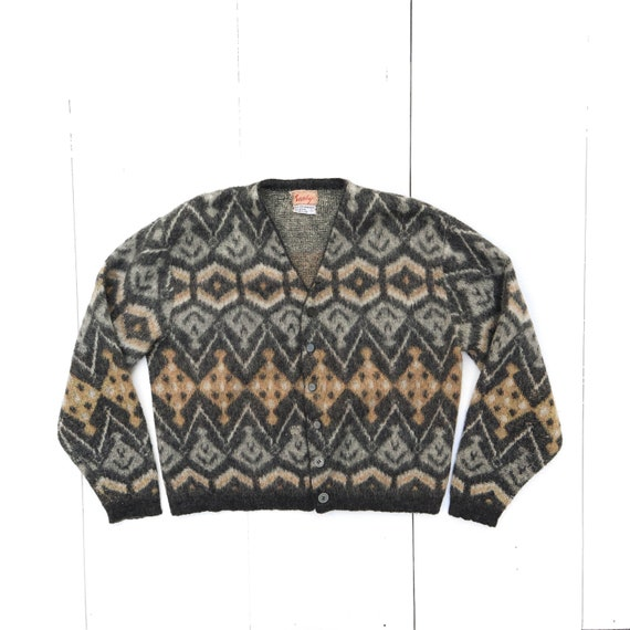 1950's Men's Patterened Mohair Knit Cardigan Sweat