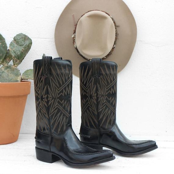 6.5 D | vintage Dan espagnol espagnol espagnol Post des bottes de cow-boy tuyau de poêle noir bottes Western des années 1970 fabriqué en Espagne | Exceptionnelle  d3ee31