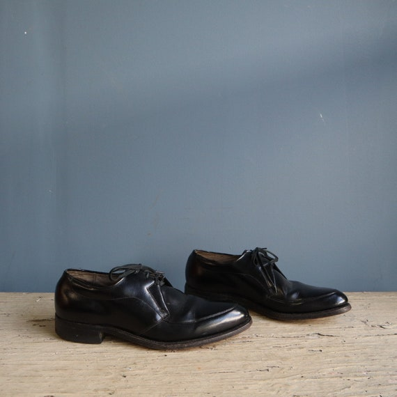Vintage Men's Black Leather Oxford Shoes | Vintage