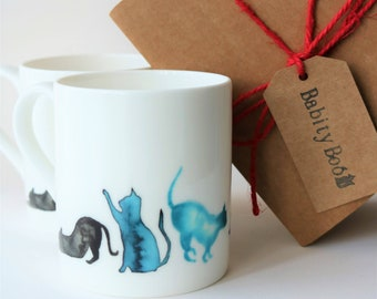 Cat Mug, 'Blue Cats' Design,small Bone China Mug, Coffee Mug, gift for a cat lover, gift for her,  Stocking filler
