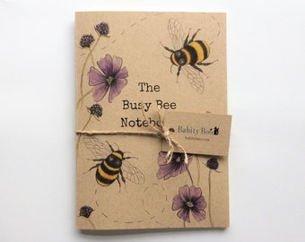The Busy Bee Notebook - Eco Jotter - Journal - Sketch book - A5 Pad - Stationary - Recycled - Bees - Save the Bees - Bumble Bee - Notepad