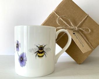 Large Bee Mug, large china mug, save the bees, summer mug, garden mug, gift for a gardener, stocking filler