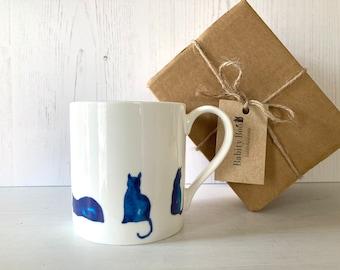 Large Cat Mug, 'Blue Cats' Design, large Bone China Mug, Coffee Mug, gift for a cat lover, gift for her,  Stocking filler