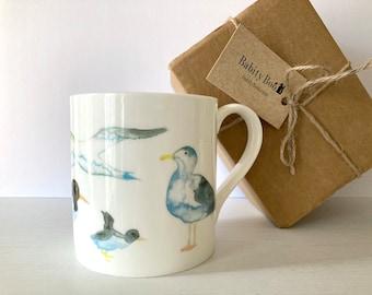 Large Seabird Mug, 'Hebridean Seabird' design, large bone china mug, stocking filler, puffin, seagull, gannet, oyster catcher