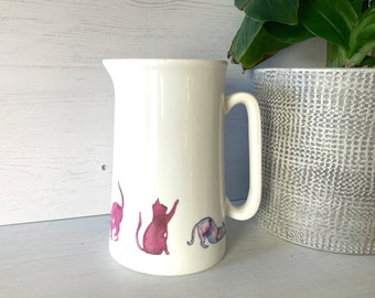 Large Farmhouse Jug   Pink Cats Design   1 Pint for Breakfast