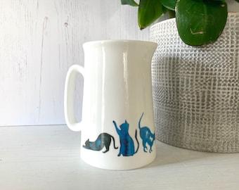 Half Pint Farmhouse Jug Blue Cats Design