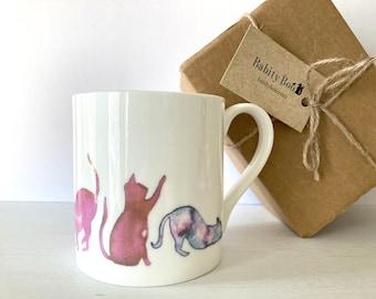 Large Cat Mug, 'Pink Cats' Design, large Bone China Mug, Coffee Mug, gift for a cat lover, gift for her,  Stocking filler