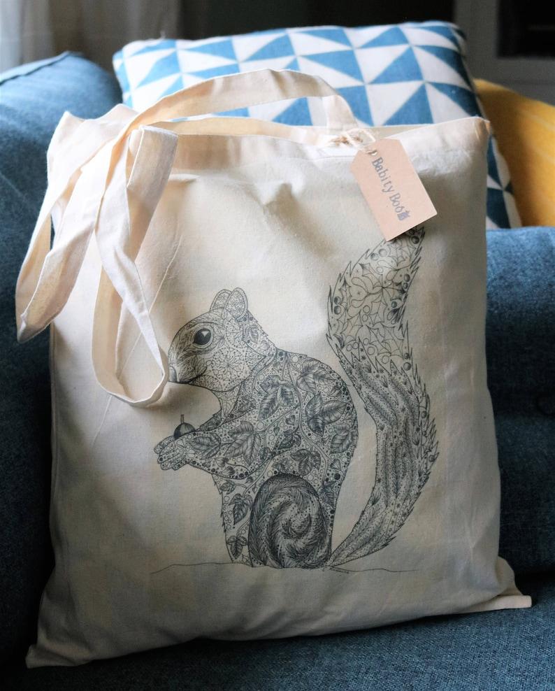 cotton tote bag woodland bag Squirrel tote bag gift animal bag grocery bag shoulder bag shopping bag stocking filler