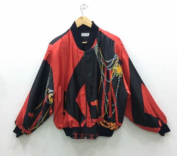 Vintage Baroque Silk Gold Chains Bomber Jacket Ni… - image 2