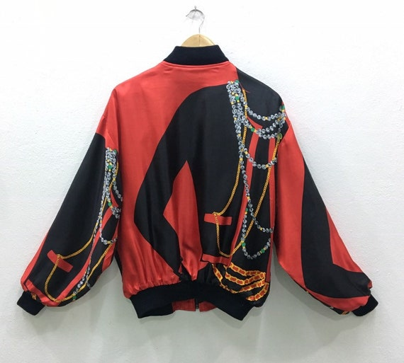 Vintage Baroque Silk Gold Chains Bomber Jacket Nic