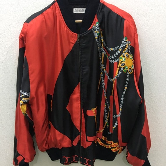 Vintage Baroque Silk Gold Chains Bomber Jacket Ni… - image 3