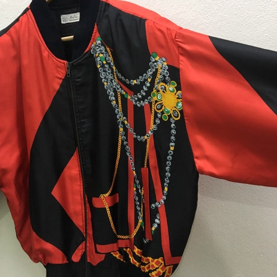 Vintage Baroque Silk Gold Chains Bomber Jacket Ni… - image 7