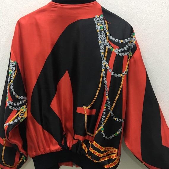 Vintage Baroque Silk Gold Chains Bomber Jacket Ni… - image 4