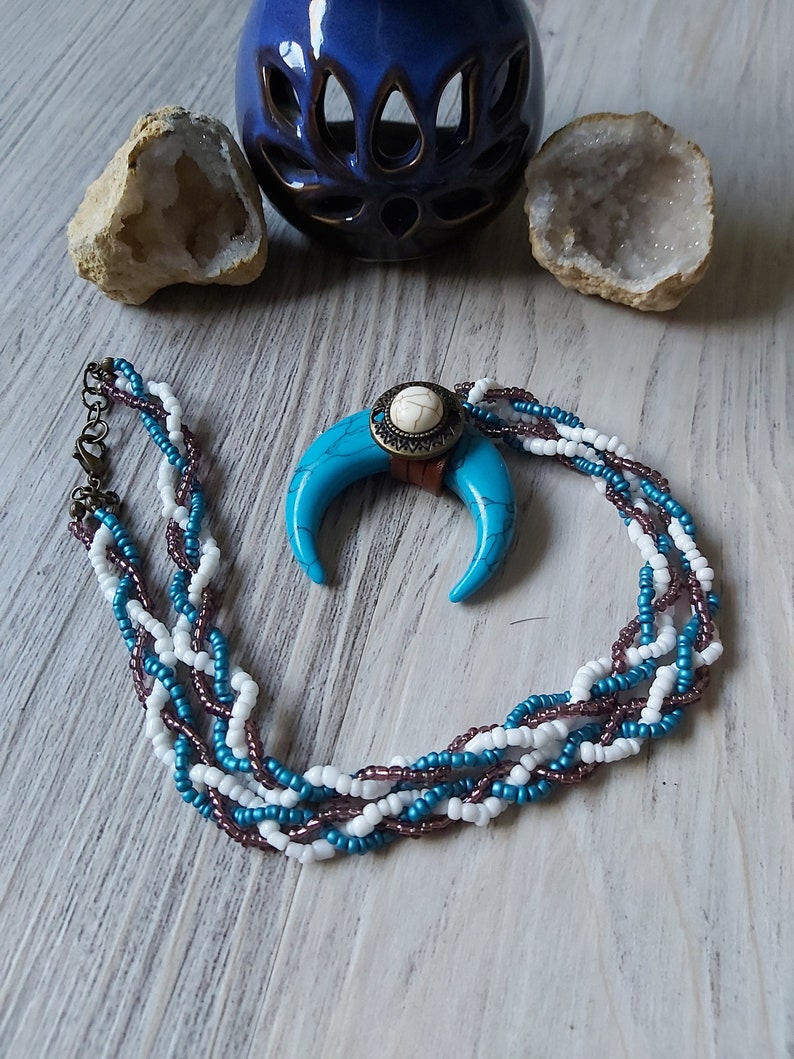 Boho Chic December Birthstone Beaded Necklace with Genuine Turquoise Pendant Calming Stones Meditation /& Yoga Jewellery Native Inspired