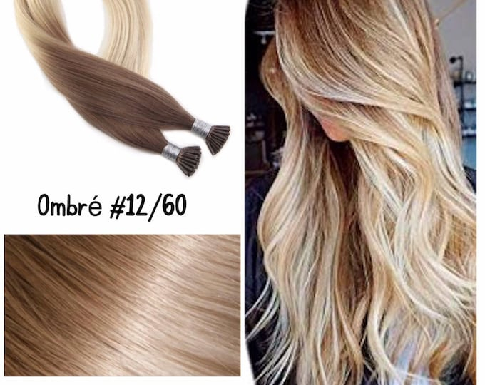 "24"" I Tip Ombre Human Hair Extensions, 100% Human Remy Hair, 100 grams, Custom Color, Straight"