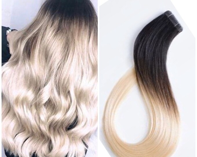 "Ombre Human Hair Tape In Extensions, 100% Remy, Custom Color, Straight, 18"",20"",22"",24"",26"",28"",30"""