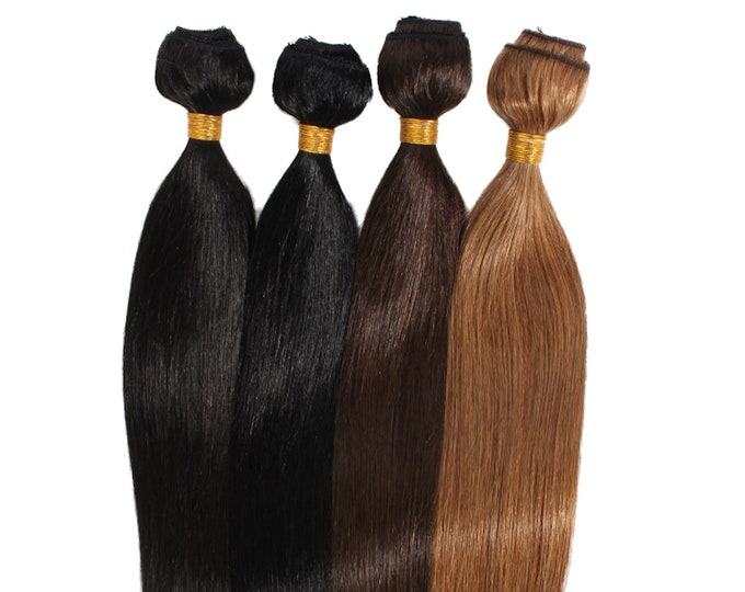 """30"""" Flat Weft Weave Hair Extensions, Double Drawn Remy Hair, Blonde Brown Black And Ombre, Straight, 100 Grams."""