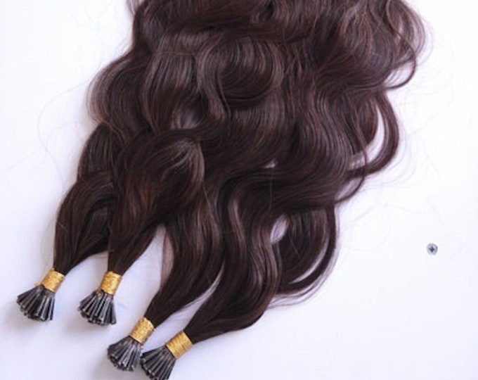 "I Tip Wavy Human Hair Extensions, 100% Human Remy Hair, 100 grams, Blonde Brown Jet Black, Custom Color, 18""- 28"""