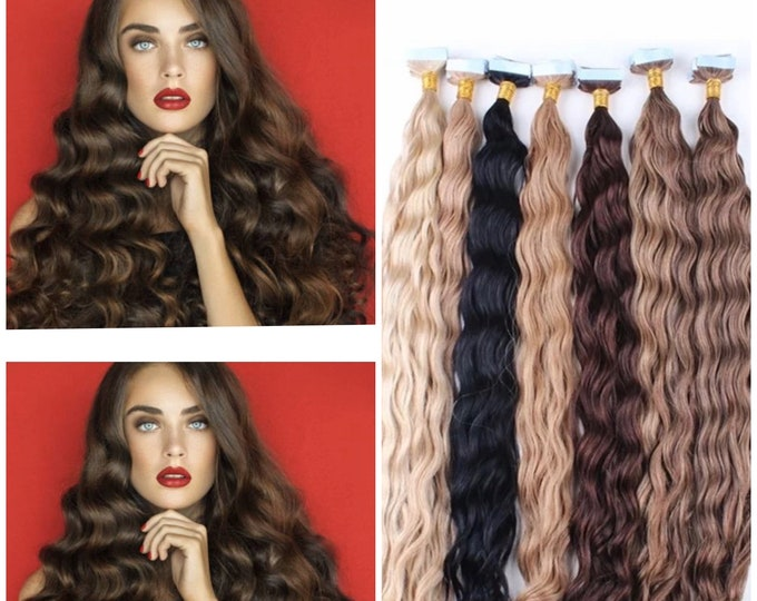 "Deep Curly Human Hair Tape In Extensions,100% Remy, Jet Black Brown Blonde, Custom Color, 18"", 20"", 22"",24"",26"", 28"",30"""